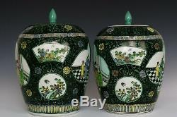 Chinois Belle Paire Trois Couleurs Glaze Porcelaine Caractères Thé Caddies