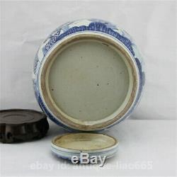 Chinois Bleu Blanc Porcelaine Antique Aimable Enfant Pot Bouilloire À Thé Canister Caddy