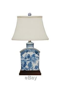 Chinois Bleu Et Blanc Bleu Saule À Thé En Porcelaine Caddy Lampe De Table 17,5