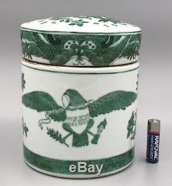 Chinois D'exportation Vert Fitzhugh Armorial À Thé En Porcelaine / Épices Pot À Couvercle / Caddy