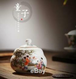Chinois De Porcelaine De Jingdezhen Famille En Céramique A Augmenté La Peinture Enfants Tea Caddy