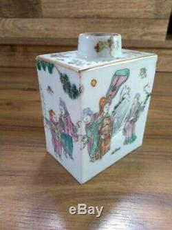 Chinois Famille Rose Porcelaine Tea Caddy 19thc Début Du XX