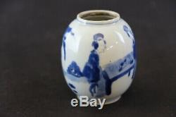 Chinois Parfait Porcelaine Teacaddy Chiffres. Kangxi 1662-1722. 8,5 CM