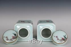 Chinoise Belle Paire Famille Rose Porcelaine Wintersweet Et Magpie Thé Caddies