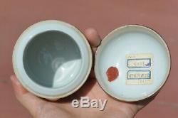 Chinoise Gilt 1930 Peach Famille Rose À Thé En Porcelaine Boîte Caddy Avec As Is Cup