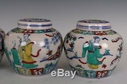 Clash Belle Paire Chinoise Couleur Porcelaine Quatre Beauté Caractères Thé Caddies