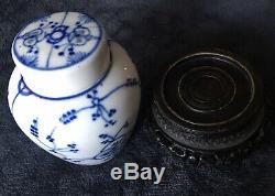 Début Du 19ème Siècle Royale Tettau Allemagne Paille Fleur À Thé En Porcelaine Caddy & Support