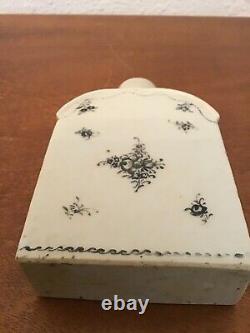 Décorations Florales De Caddy De Thé De Porcelaine Noir Et Blanc Antique Début Des Années 1800