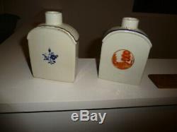 Deux (2) Antique Chinese Export Porcelaine Boîte À Thé Du 18ème Siècle