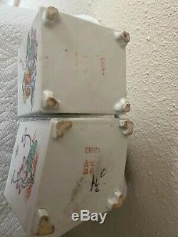 Deux Antique Porcelaine Chinoise Famille Rose Décoré Thé Caddies
