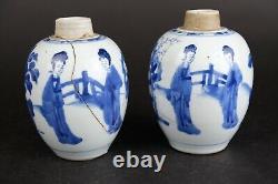 Deux Caddies De Thé Porcelaine Chinoise Antique Kangxi 1662-1722 Chiffres