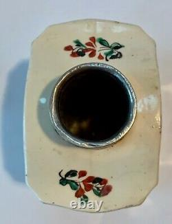 Early English Creamware Rose Spray Tea Caddy Pewter LID Strong Provenance Vers 1770