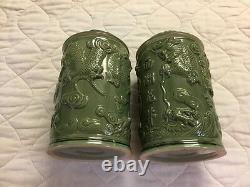 Ensemble De Deux Chinois Dragon Porcelaine Couvert Thé Tabac Épice Bidon Jar