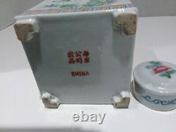 Exportation Chinoise Famille Rose Porcelaine Thé Caddy Square Papillon Floral