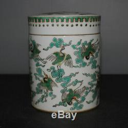 Fine China Old Green Couleur Thé En Porcelaine Caddy Réservoir Jar Couvercle Pot