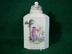 Fine Rare Closter-veilsdorf Tea Caddy C1765 Antique Porcelaine Allemande Chinoiserie