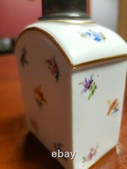 Floral Peint Antique Porcelaine De Meissen Main Tea Caddy Pot, 4 1/4