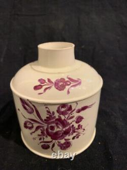 Georgian Doux Pâte Creamware Tea Caddy Vers 1790 Angleterre