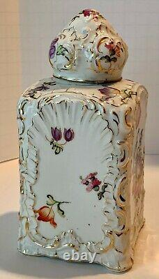 Grand Allemand Polychrome Floral Gilt Tea Caddy Domed LID Vers 1880