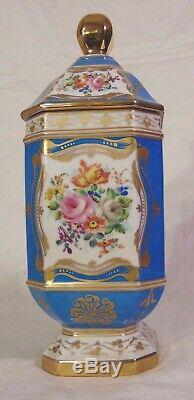 Grand Bleu Français Sevres Porcelaine Peinte À La Main Canister Tea Caddy Pot Urne