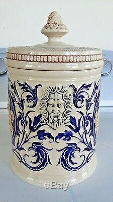 Grand Heavy Hand Crafted Porcelaine 9 Apothecary Jar Humidor Tea Caddy Urn