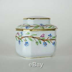 Herend Hongrie À Thé En Porcelaine Caddy Boîte Avec Boîte Trinket Fleurs Peintes À La Main