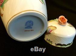 Herend Porcelaine Peinte À La Main Reine Victoria Tea Caddy Avec Rose Fleuron