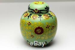 Japonais Chinois Porcelaine Ming Céladon Imperial Jaune Pot Thé Au Gingembre Caddy
