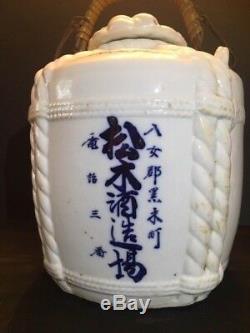 Japonaise Antique Sake Jug Cask Porcelaine Blanc Bleu Presque Parfait