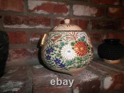 Japonese Porcelain Meiji Period Hand Painted Millefiori Style Tea Caddyc. 19ème