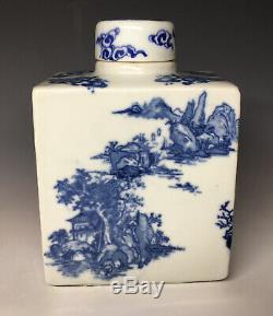 Kangxi De La Dynastie Qing En Porcelaine Chinoise Tea Caddy Avec Couvercle Bleu Et Blanc