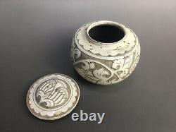 Livraison Gratuite Rare Chinois Cizhou Four Porcelaine Fleurs Sculptées Caddie De Thé