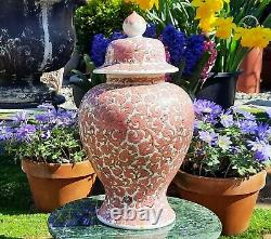 Lj Pink Vtg Pot De Gingembre Chinois Cookie Pot De Porcelaine Japonaise Vase Poterie Thé Caddie