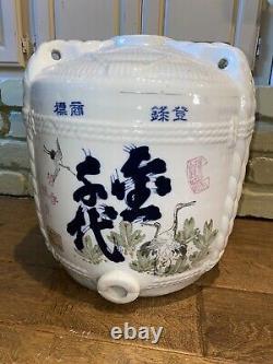 Magnifique Antique Japonais Sake Jug Cask Porcelaine