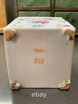Marqué Fin Antique République Chinoise Export Porcelaine Famille Verte Tea Caddy