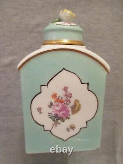 Meissen Porcelain Floral Turquoise Ground Tea Caddy 1740