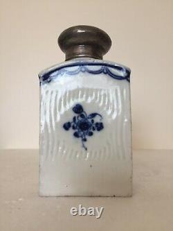 Meissen Porcelaine Fleurs Bleues Inhabituelles Coupées Thé Caddy Argent LID C1760