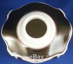 Nymphenburg Porcelaine Noir Et Fleurs De Thé Caddy Puce / Pot Porzellan T Dose