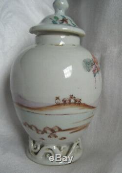 Oiseau Tropical + Chien Fidèle, Valentine Thé Porcelaine Chinoise Caddie 1760-1795