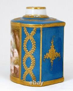 Old Kalk Eisenberg Porzellanfabrik Allemand Porcelaine Thé Caddy Cacher Chercher Figure