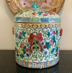 Painted Antique Chinese Export Main À Thé En Porcelaine Caddy Humidor