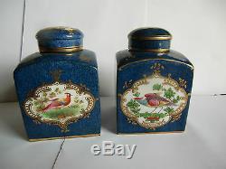 Painted Deux Couronne Staffordshire Main Thé Caddies Vers 1900 Rares
