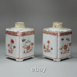 Paire Antique De Caddies Chinois De Thé Carré De Famille Verte, Kangxi (1662-1722)