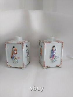 Paire Chinois Famille Rose Porcelaine Caddies De Thé Lady Figurine Figure Mark Chine