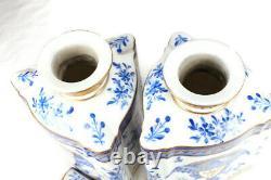 Paire De 19/20 Antique Edme Samson Tea Caddy Bleu / Couverture Porcelaine France