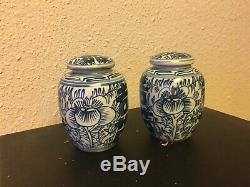 Paire De 4 Porcelaine Chinoise Antique Pot De Gingembre Vtg Boîte À Thé Bleu Et Blanc