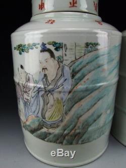 Paire De Antique Chinois Qianjiangcai Thé En Porcelaine Caddies Garçons