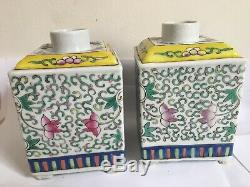 Paire De Antique Porcelaine Chinoise Famille Rose Décoré Tea Caddy