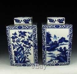Paire De Chine Antique Bleu Et Blanc Porcelaine Lidded Thé Caddies