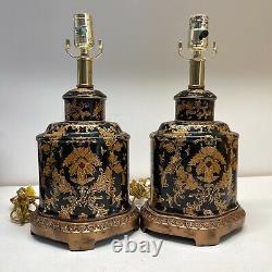 Paire De Lampes De Table En Porcelaine Peintes En Or Noir